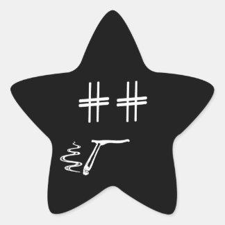 Hashtag Dude Cartoon Face with Hashtag Eyes Funny Star Sticker