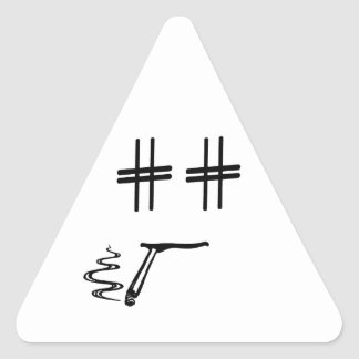 Hashtag Dude Cartoon Face with Hashtag Eyes Funny Triangle Sticker