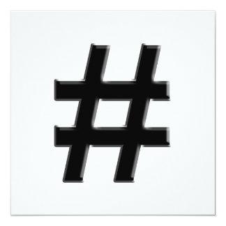 #HASHTAG - Hash Tag Symbol 13 Cm X 13 Cm Square Invitation Card