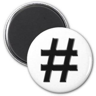 #HASHTAG - Hash Tag Symbol 6 Cm Round Magnet