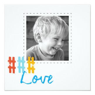 hashtag love square photo cards 13 cm x 13 cm square invitation card