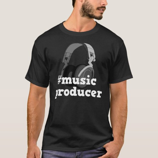 Hashtag Music Producer B&W Men's T-Shirt Design