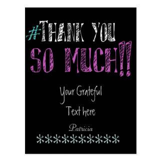 Hashtag Thank you Chalkboard Postcard