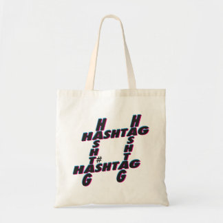 Hashtag typographic 3D Tote Bag