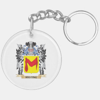 Hasting Coat of Arms - Family Crest Double-Sided Round Acrylic Key Ring