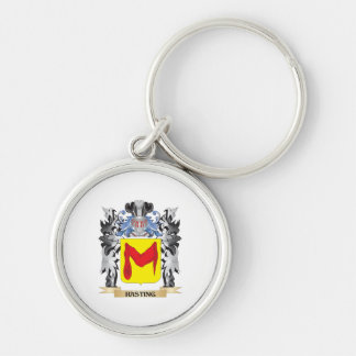 Hasting Coat of Arms - Family Crest Silver-Colored Round Key Ring