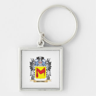 Hasting Coat of Arms - Family Crest Silver-Colored Square Key Ring