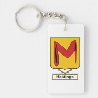 Hasting Family Crest Single-Sided Rectangular Acrylic Key Ring