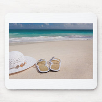 Hat and Flipflops on the Beach Mousepads