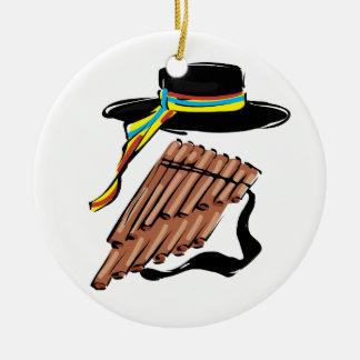 hat black pan flute ribbon music design.png round ceramic decoration