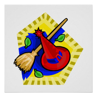 Hat Broom Colorful Print