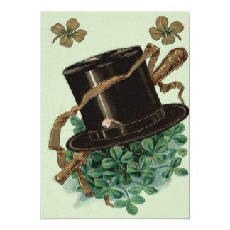 Hat Clay Pipe Shamrock Four Leaf Clover Shillelagh 13 Cm X 18 Cm Invitation Card