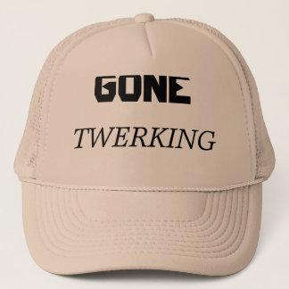 """Hat featuring text, """"Gone Twerking)."""