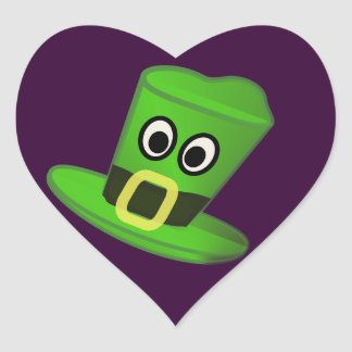 Hat for St Patricks Day Heart Sticker