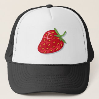 Hat: juicy red strawberry trucker hat