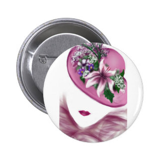 hat lady easter tea party card design 6 cm round badge