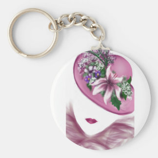 hat lady easter tea party card design basic round button key ring