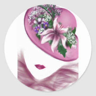 hat lady easter tea party card design round sticker