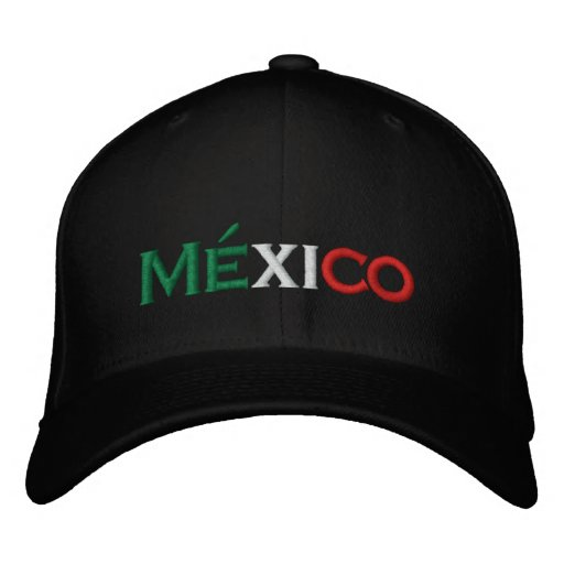 Hat: Mexico lindo, tri-colour Embroidered Hats