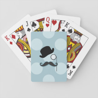 Hat, Monocle, Moustache, Polka Dots - Black Blue Playing Cards