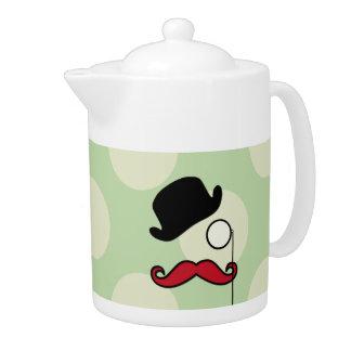 Hat, Moustache, Monocle, Dots - Black Green Red