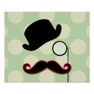 Hat, Moustache, Monocle, Dots - Black Green Red Poster