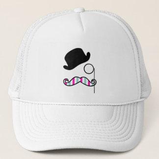 Hat, Moustache, Monocle, Stripes - Black Pink Blue Trucker Hat