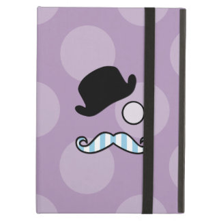 Hat, Moustache, Monocle, Stripes - Blue Purple iPad Air Cover
