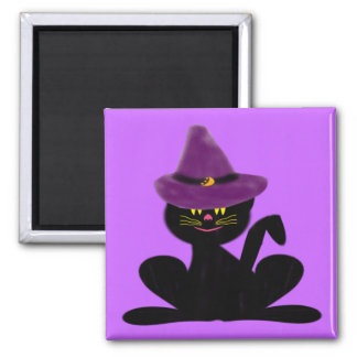 Hat On A Cat Square Magnet