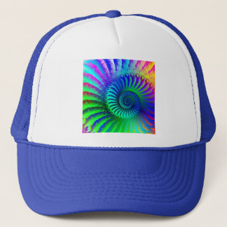 Hat - Psychedelic Fractal blue terquoise green