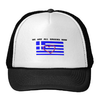 "Hat with the moto ""We are all Greeks now"""