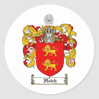HATCH FAMILY CREST -  HATCH COAT OF ARMS CLASSIC ROUND STICKER