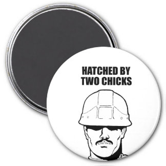 hatched by two chicks 7.5 cm round magnet