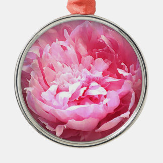 Hatched Pink Peony Silver-Colored Round Decoration