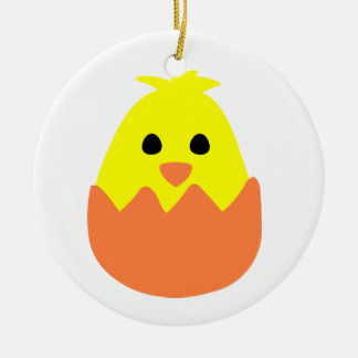 Hatching Easter Chick Round Ceramic Decoration
