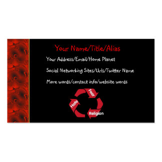 Hate Fear Religion Pack Of Standard Business Cards