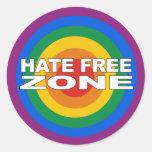 Hate Free Zone Classic Round Sticker