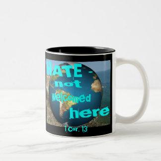 HATE - not welcomed here Two-Tone Mug