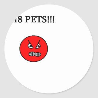 hate pets classic round sticker