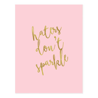 Haters Don't Sparkle Quote Faux Gold Foil Glitter Postcard