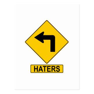 Haters Left Turn Sign Postcard