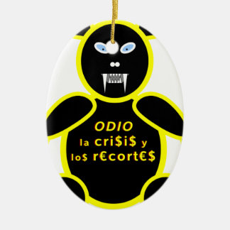 Hatred the crisis and the cuts ceramic oval decoration
