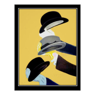 Hats French Art Deco Vintage poster french