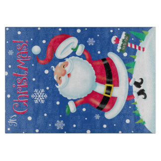 Hats Off for Christmas Glass Cutting Board