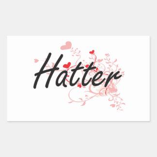 Hatter Artistic Job Design with Hearts Rectangular Sticker