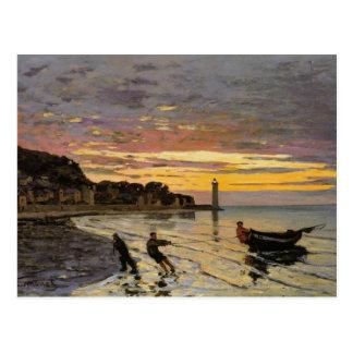Hauling a Boat Ashore, Honfleur by Claude Monet Postcard