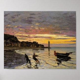 Hauling a Boat Ashore, Honfleur by Claude Monet Poster