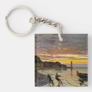 Hauling a Boat Ashore, Honfleur Double-Sided Square Acrylic Key Ring