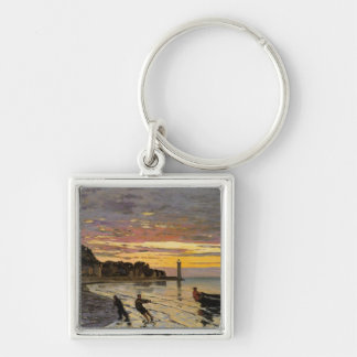 Hauling a Boat Ashore, Honfleur Silver-Colored Square Key Ring