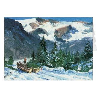 Hauling a Christmas Trees - Greeting Card